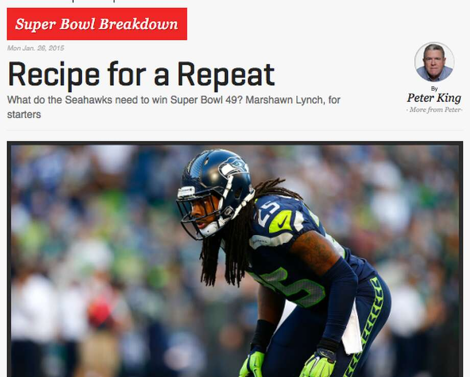 "MMQB's Peter King In his ""Super Bowl Breakdown,"" King provides his three keys for the Seahawks in Sunday's big game, emphasizing Marshawn Lynch and the run game, the Hawks' receivers and the Legion of Boom's physicality. ""I think this defense has to be physical,"" King said. ""If Tom Brady leaves the pocket, he's got to get hit hard legally and he's got to get hit hard often."" Photo: Screenshot, TheMMQB.com"