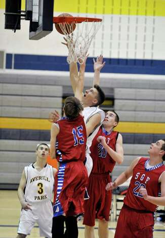Lukas Morgan of Averill Park puts up a shot during their game against South Glens Falls on Monday night, Jan. 26, 2015, in Averill Park, N.Y.  (Paul Buckowski / Times Union) Photo: Paul Buckowski / 00030314A