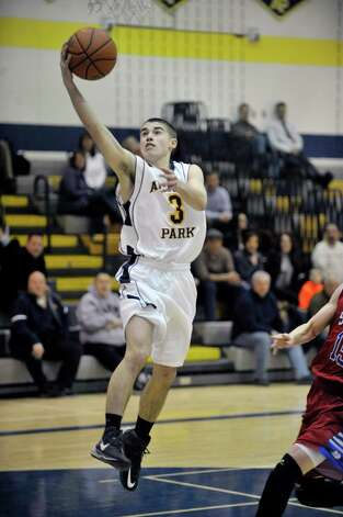 D.J. Morone of Averill Park goes in for a layup during their game against South Glens Falls on Monday night, Jan. 26, 2015, in Averill Park, N.Y.  (Paul Buckowski / Times Union) Photo: Paul Buckowski / 00030314A