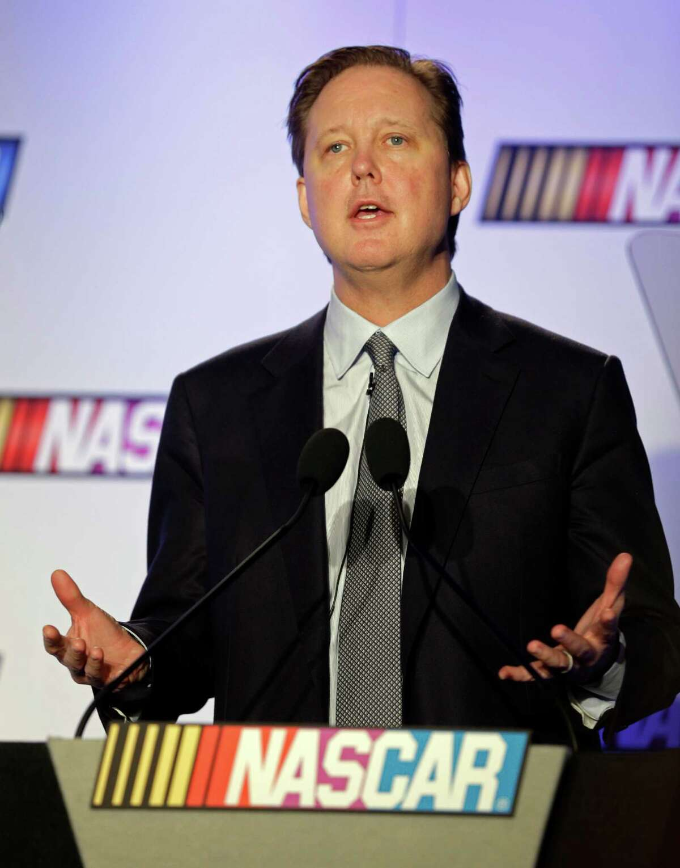 NASCAR CEO Brian France speaks to the media during the NASCAR Media Tour in Charlotte, N.C., Monday, Jan. 26, 2015. (AP Photo/Chuck Burton)