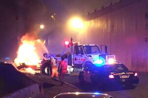 CHP car catches fire on Bay Bridge ramp, snarling traffic - Photo