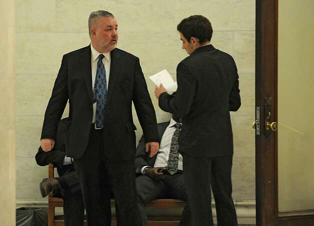 Assemblyman Daniel O'Donnell, left, is seen outside a meeting concerning Speaker Sheldon Silver at the Capitol on Monday, Jan. 26, 2015 in Albany, N.Y.(Lori Van Buren / Times Union) Photo: Lori Van Buren / 00030344A