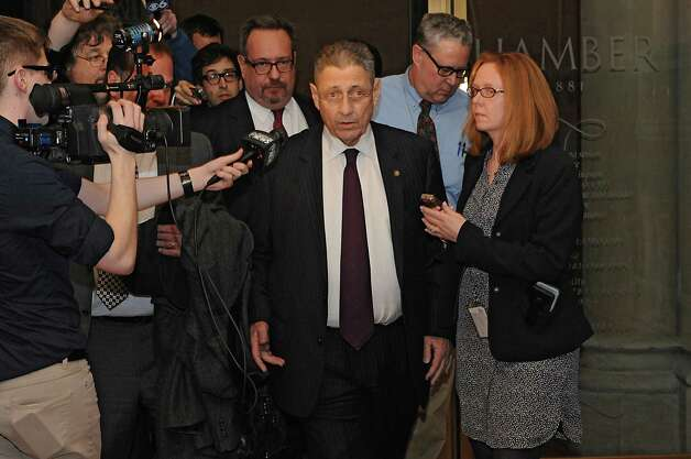 Speaker Sheldon Silver talks to the press at the Capitol for the first time since his arrest Thursday on federal charge Monday, Jan. 26, 2015 in Albany, N.Y. Silver appeared late Monday night after democratic members of the Assembly met to discuss his position. (Lori Van Buren / Times Union) Photo: Lori Van Buren / 00030344A