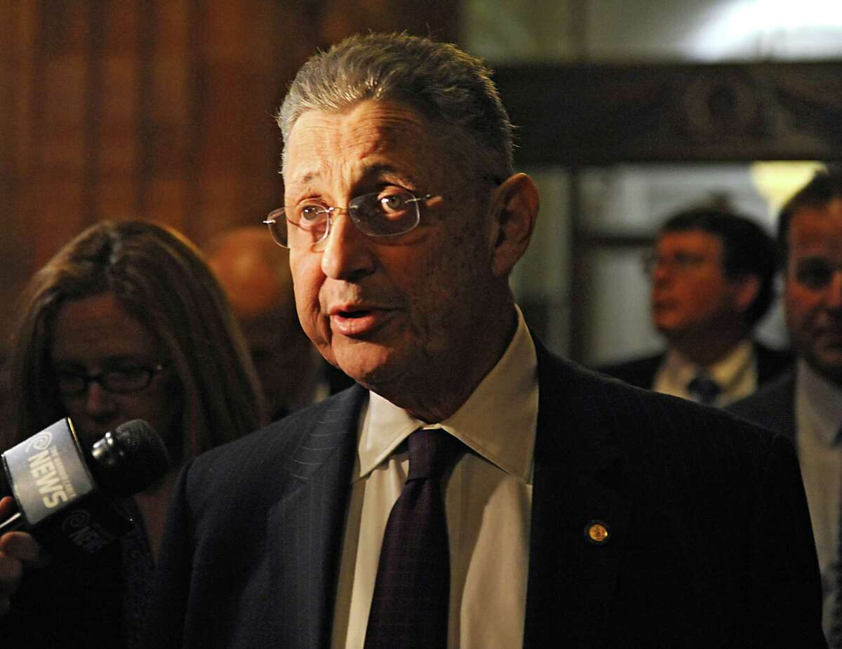 Speaker Sheldon Silver talks to the press at the Capitol for the first time since his arrest Thursday on federal charge Monday, Jan. 26, 2015 in Albany, N.Y. Silver appeared late Monday night after democratic members of the Assembly met to discuss his position. (Lori Van Buren / Times Union)