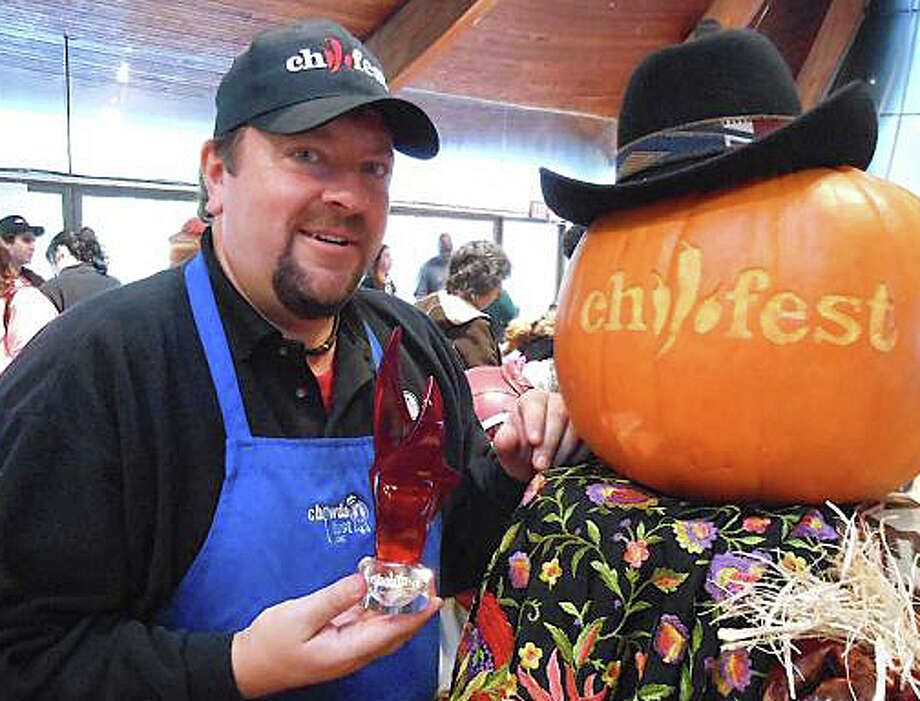 Jim Keenan, the chief organizer of Chilifest this Sunday at Beford Middle School, is shown at the first such event staged at the Unitarian Church here four years ago. Photo: File Photo / Westport News