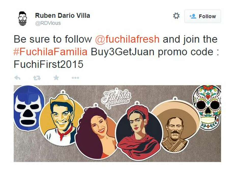 Former Apple designer and San Jose, Calif. artist,  Ruben Dario Villa, launched a kickstarter campaign in October 2014. Fúchila Fresheners brings iconic Hispanic figures to life through scent and design. Photo: Mendoza, Madalyn S, Twitter