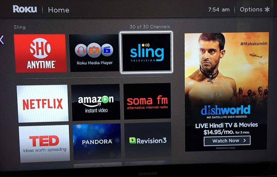 Sling TV appears as an app on a Roku 3. Photo: Dwight Silverman, Houston Chronicle