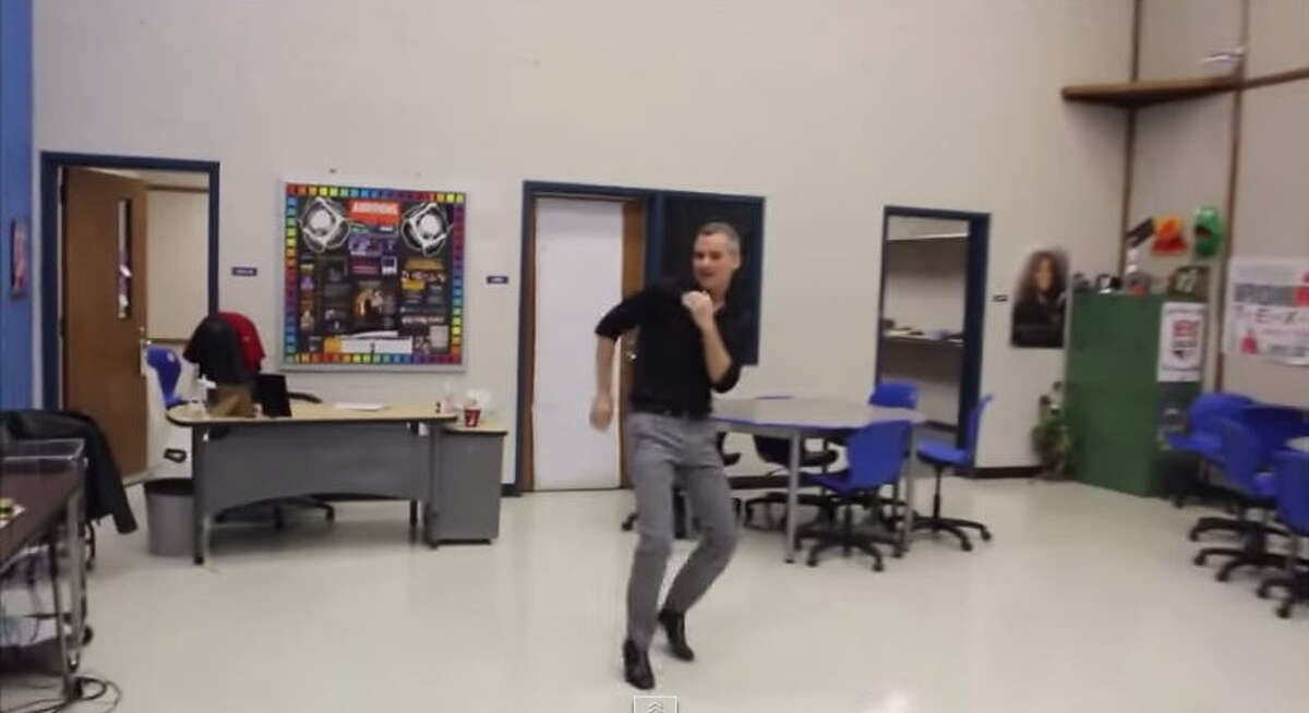 Dallas teacher Scot Pankey and students from A. Maceo Smith New Tech High School dance to Mark Ronson and Bruno Mars'