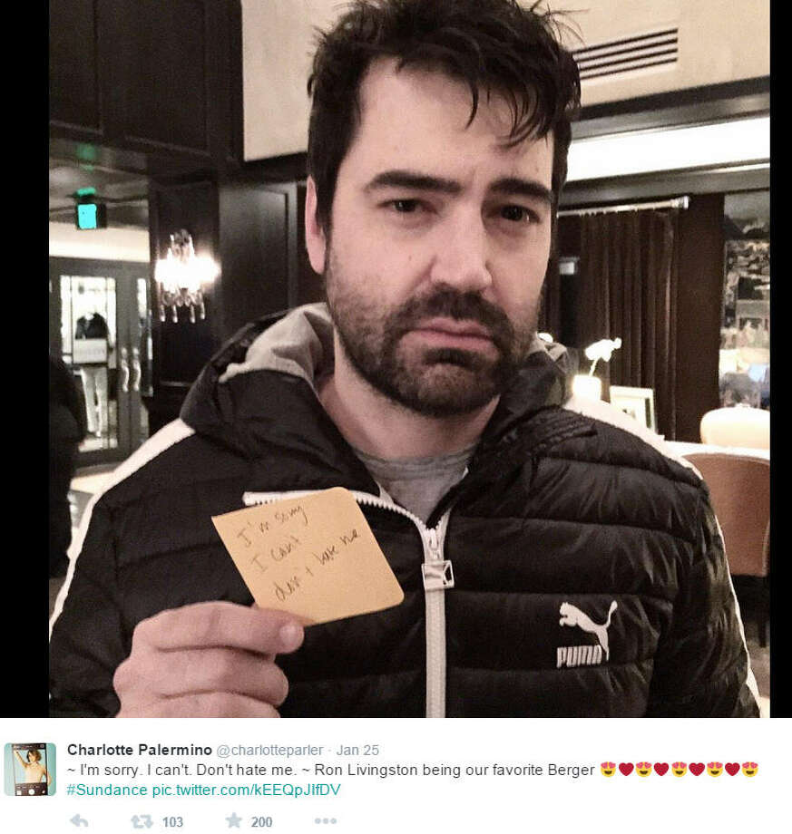 Ron Livingston reprised his role of the Post-It toting Jack Berger at the Sundance Film Festival. Well, at least for as long as it took to snap the picture.You don't even need to be a die-hard 'Sex and the City' fan to know that Berger's character was an insecure writer who dumped our beloved Carrie via a small, daunting sticky note, like the one shown above.HBO's 'Sex and the City,' about four single women looking for love and 