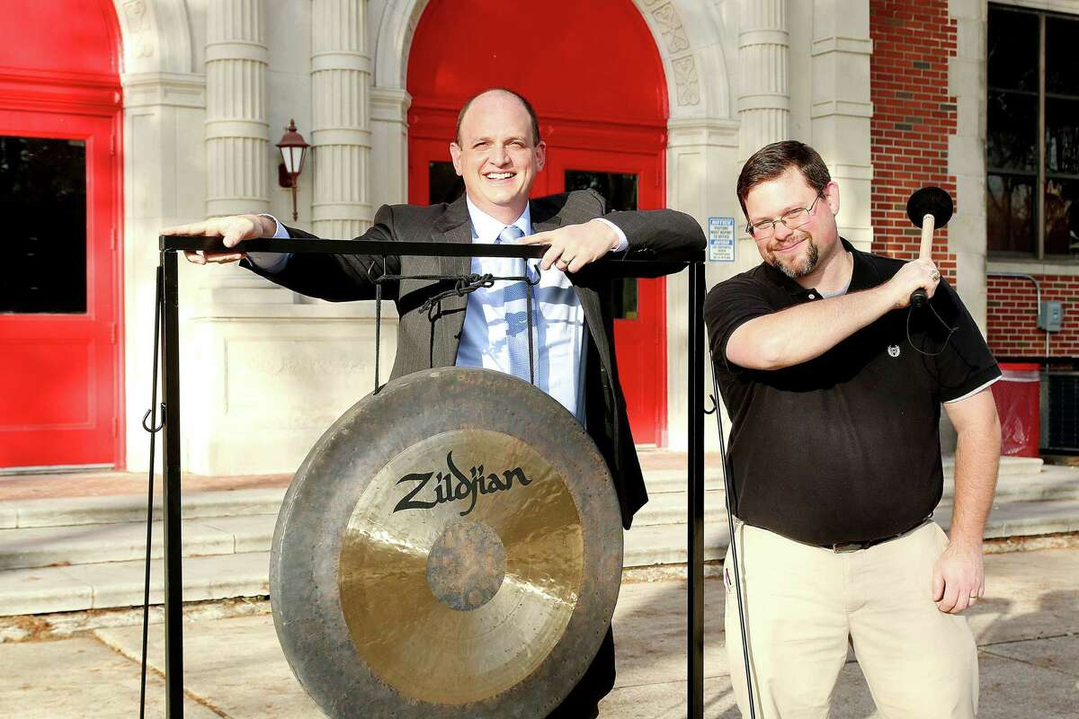 Peter Marmo, left, treasurer of the group Learn Local, and Hogg Middle School band director David Sells are promoting a Feb. 8 Latin jazz concert that will raise funds for the school's band program.