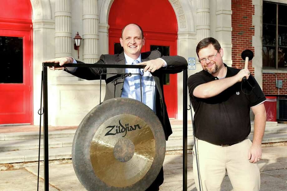 Peter Marmo, left, treasurer of the group Learn Local, and Hogg Middle School band director David Sells are promoting a Feb. 8 Latin jazz concert that will raise funds for the school's band program. Photo: Pin Lim, Freelance / Copyright Forest Photography, 2015.