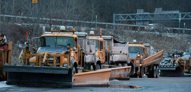 New York State Department of Transportation plows are queued up for the snow fall which came later in the day Jan. 27, 2015 to the Latham, N.Y. area.        (Skip Dickstein/Times Union) Photo: SKIP DICKSTEIN