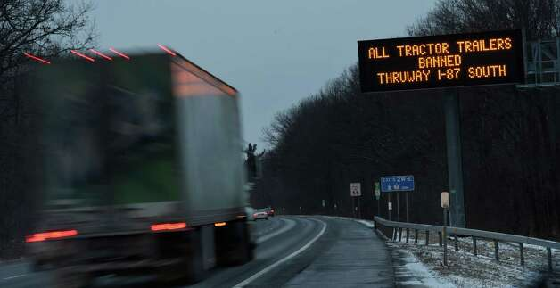 New York State Department of Transportation on I-87 in Colonie spelled out the ominous signs of the winter storm Juno which left a lesser amount of snow on the upstate New York area Jan. 27, 2015.        (Skip Dickstein/Times Union) Photo: SKIP DICKSTEIN