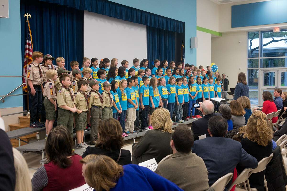 The fifth-grade choir, directed by Anne Marie Steward, entertains a packed house at the grand opening of the new Valley Oaks Elementary School. The fifth-grade choir, directed by Anne Marie Steward, entertains a packed house at the grand opening of the new Valley Oaks Elementary School.