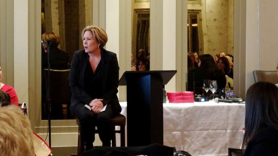 Clare Sullivan speaking to the audience at the Women's Excellence in Business Luncheon at Vallones on Jan 21, 2015. Photo: Samaria Chicas