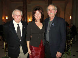 Artist Wayne Thiebaud (left) with UC Davis Shrem Art Museum Director Rachel Teagle and painter William T. Wiley.