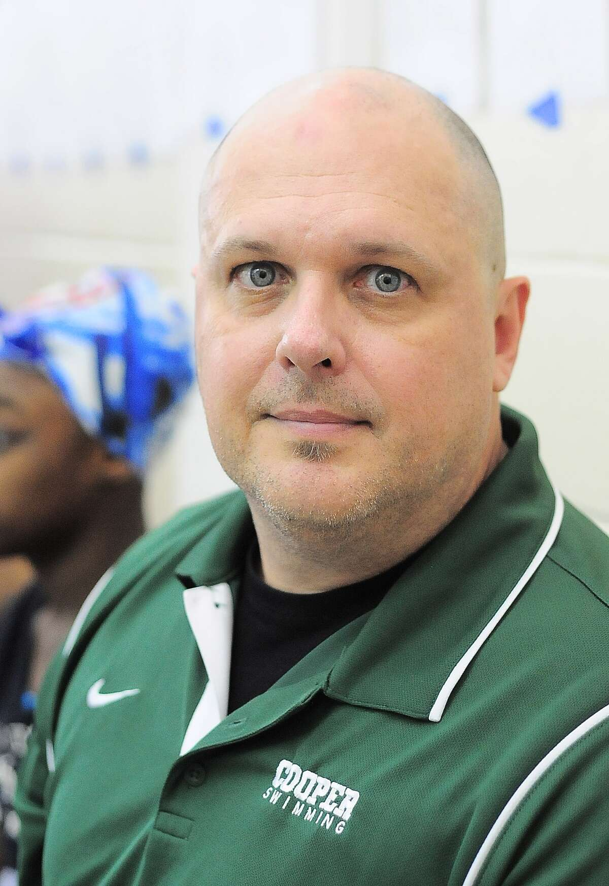 The John Cooper School swimming head coach Steve Breeding during the HAPPI Swimming and Diving Championships at Spring Branch Natatorium Saturday 01/25/14.