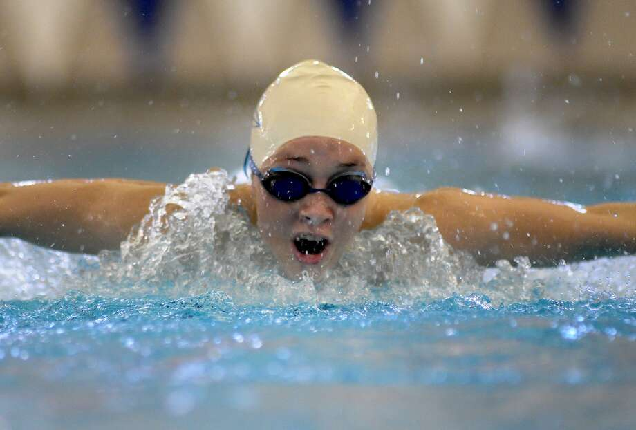 Friendswood sophomore Sadie Wilson practiced her butterfly at the Friendswood Natatorium this week. Photo: Jerry Baker, Freelance