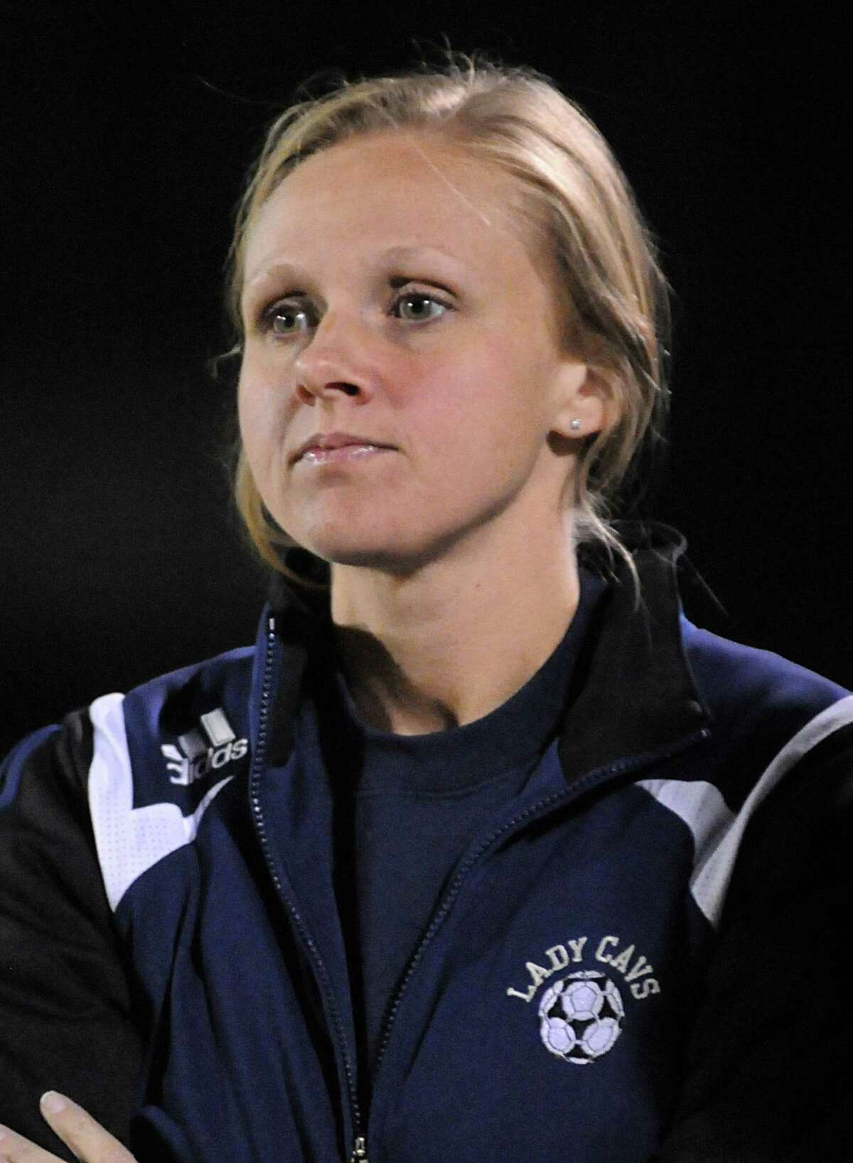 College Park girls soccer coach Meredith Cook during the Stratford at College Park girls soccer game. Photo by David Hopper