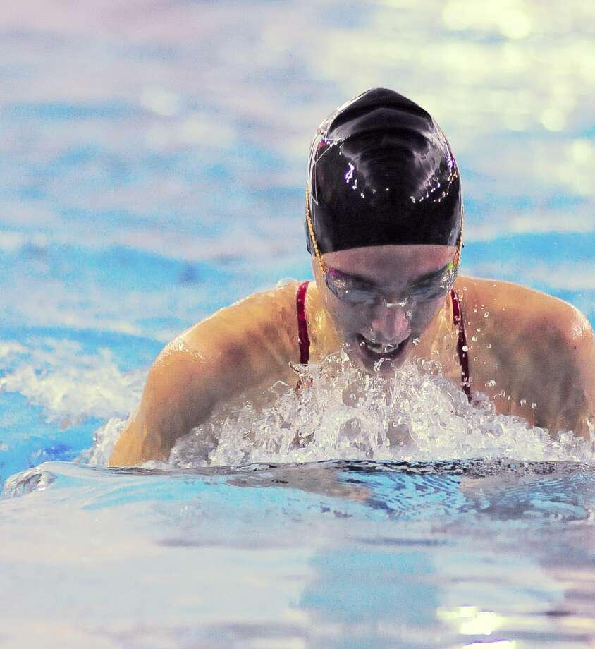 Elena Skaribas (junior at St. John's) competes in the Girls 100 Yard Breaststroke during the HAPPI Swimming and Diving Championships at Spring Branch Natatorium Saturday 01/25/14. Photo: Â Tony Bullard 2014, Freelance Photographer / © Tony Bullard & the Houston Chronicle