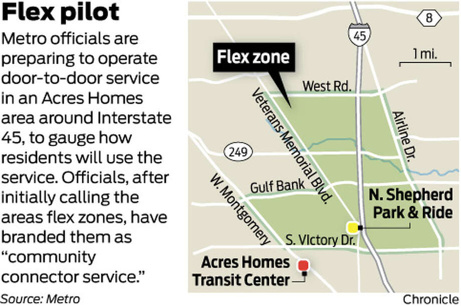 """Flex pilot Metro officials are preparing to operate door-to-door service in an Acres Homes area around Interstate 45, to gauge how residents will use the service. Officials, after initially calling the areas flex zones, have branded them as """"community connector service."""