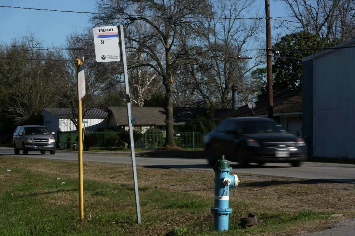 A Metro bus stop along route 9 along Sweetwater Lane and Peach Spring Drive Tuesday, Jan. 27, 2015, in Houston, Texas. Metro of Harris County is kicking off its flex zones, a plan for small buses to offer door-to-door service within a specified area to operate for a few months along with regular service.