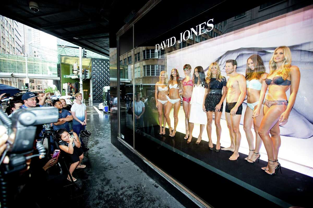 International supermodel, Heidi Klum, appears in a live window display for the launch of her new line Heidi Klum Intimates at David Jones Elizabeth Street Store on January 28, 2015 in Sydney, Australia.