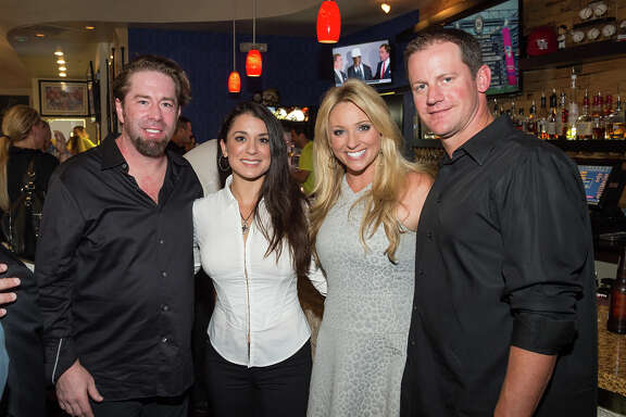 Jeff Bagwell, Rachel Brown, Chita Johnson and Roy Oswalt at Clemens' Katch 22 on July 14, 2014.