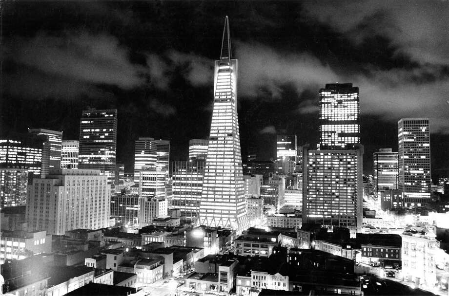 """Jan. 30, 1974: The Transamerica Pyramid was just two years old when Chronicle photographer Jerry Telfer took this photo from the the roof of some apartments on Vallejo Street. At the time residents were upset about the """"Manhattanization"""" of downtown San Francisco, but at night, this skyline was easy to love. Photo: Jerry Telfer / The Chronicle / ONLINE_YES"""