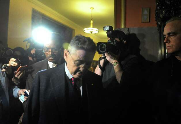 Sheldon Silver, center, leaves the Capitol building following a day of NYS Assembly debate on the Speaker future on Tuesday Jan. 27, 2015 in Albany, N.Y. (Michael P. Farrell/Times Union) Photo: Michael P. Farrell