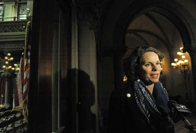 Assemblymember Patricia Fahy talks about the days events ouside the NYS Assembly Chamber on Tuesday Jan. 27, 2015 in Albany, N.Y. (Michael P. Farrell/Times Union) Photo: Michael P. Farrell