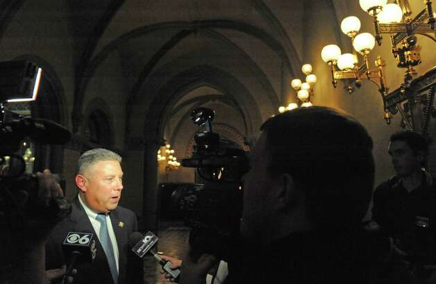 Assemblymember John T. McDonald talks about the days events ouside the NYS Assembly Chamber on Tuesday Jan. 27, 2015 in Albany, N.Y. (Michael P. Farrell/Times Union) Photo: Michael P. Farrell