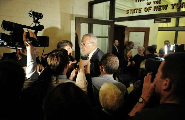 Assemblymember Jeffrion L. Aubry talks about the days events ouside the NYS Assembly Chamber on Tuesday Jan. 27, 2015 in Albany, N.Y. (Michael P. Farrell/Times Union) Photo: Michael P. Farrell
