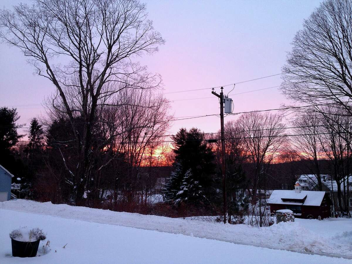 Sunset in Seymour, Conn. on Tuesday, Jan. 27, 2015 following the January 'blizzard.'