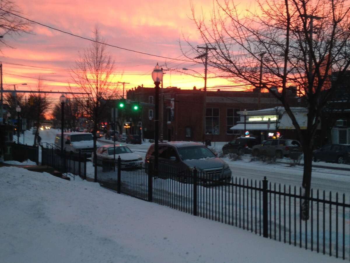 The sunset in Black Rock, Conn., on Tuesday, Jan. 27, 2015 after the January 'blizzard.'