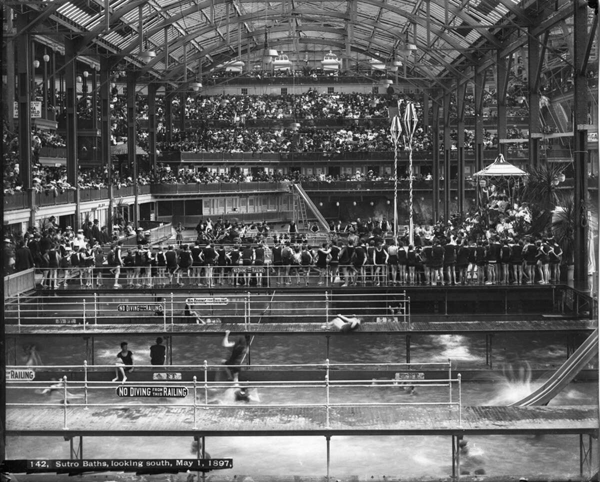 May Day at the Sutro Baths in 1897. The baths opened the year before and represented the largest indoor swimming pool complex in the world.