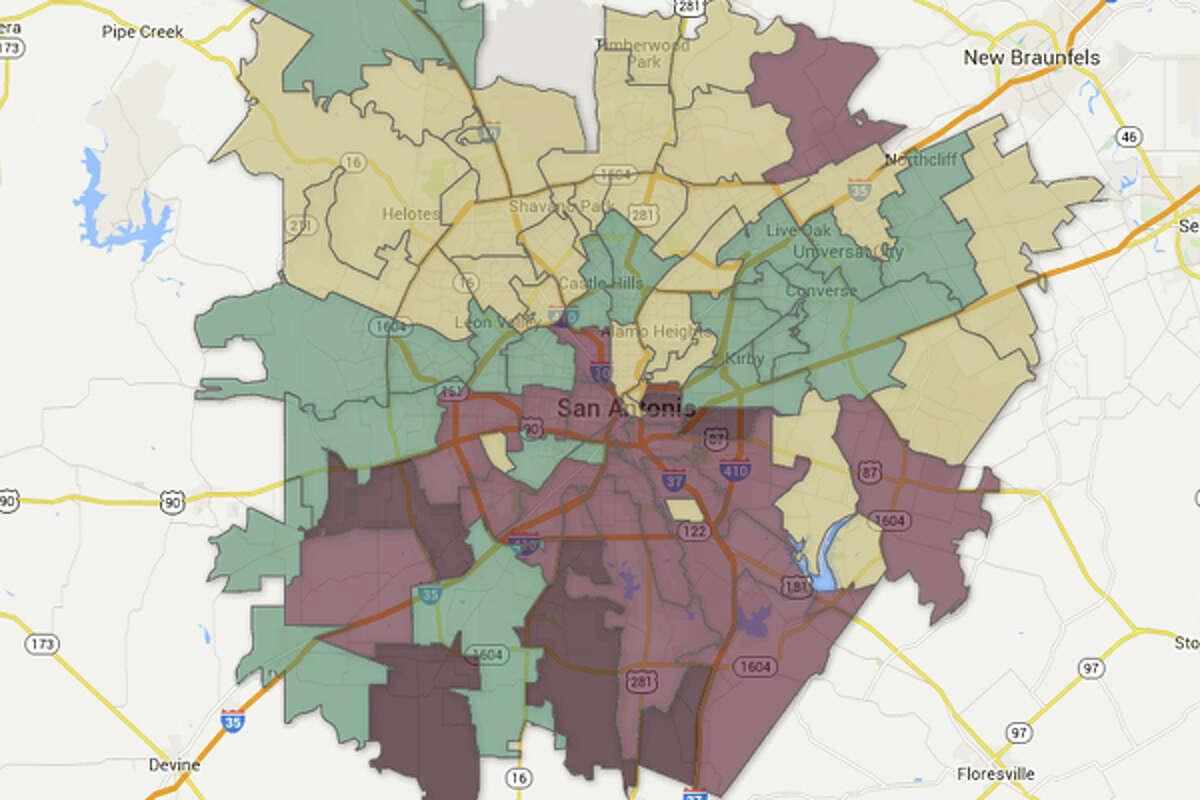Areas in the pink and maroon have the highest percent of 18-25 year olds that did not graduate high school.Color code: Tan = 0-12.5% Green = 12.5-25% Pink = 25-37.5% Maroon = 37.5-50%