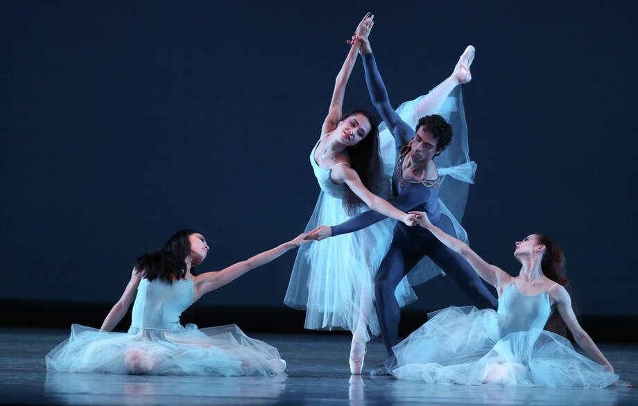 "Frances Chung (left), Mathilde Froustey, Vitor Luiz and Maria Kochetkova dance in George Balanchine's ""Serenade."" Photo: Amy Osborne / The Chronicle / ONLINE_YES"