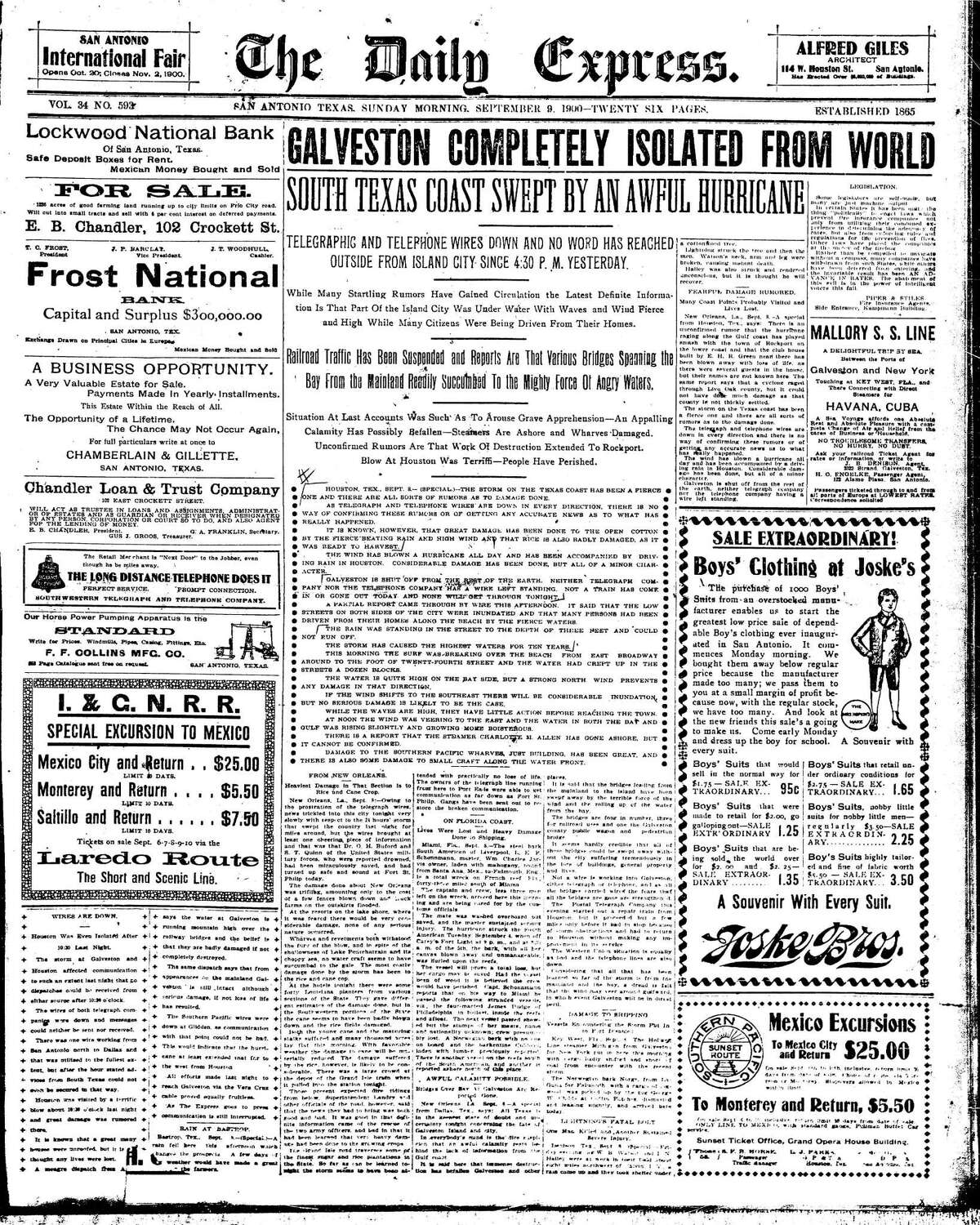 The Sept. 9, 1900. Daily Express carried tragic headlines about the hurricane that devastated Galveston the day before. Initial reports were sketchy about the details. More than a dozen ads on the front page were surrounded by the news of the day.