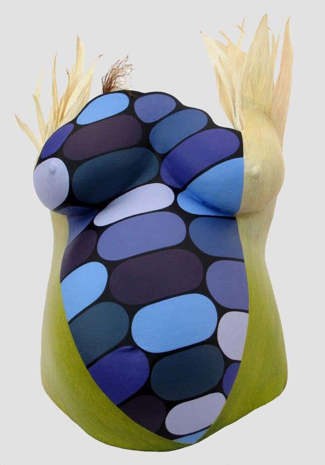 Natasha Smoke Santiago Mohawk | Turtle Clan Emerging Corn (Belly series), 2012 Densite, acrylic & raffia sculpture