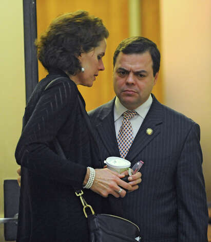 Assembly member Patricia Fahy talks to Assembly member Luis Sepulueda of the Bronx outside a meeting about Speaker Sheldon Silver at the Capitol on Monday, Jan. 26, 2015 in Albany, N.Y.(Lori Van Buren / Times Union) Photo: Lori Van Buren, Albany Times Union / 00030344A