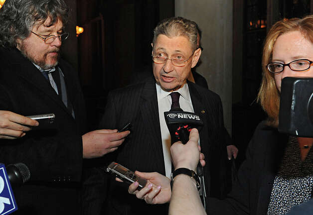 Speaker Sheldon Silver talks to the press at the Capitol for the first time since his arrest Thursday on federal charge Monday, Jan. 26, 2015 in Albany, N.Y. Silver appeared late Monday night after democratic members of the Assembly met to discuss his position. (Lori Van Buren / Times Union) Photo: Lori Van Buren, Albany Times Union / 00030344A