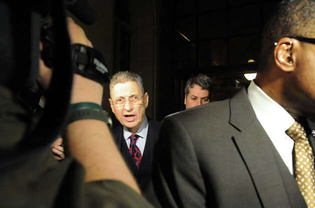 Sheldon Silver,center, leaves the Capitol building following a day of NYS Assembly debate on the Speaker future on Tuesday Jan. 27, 2015 in Albany, N.Y. (Michael P. Farrell/Times Union) Photo: Michael P. Farrell, Albany Times Union