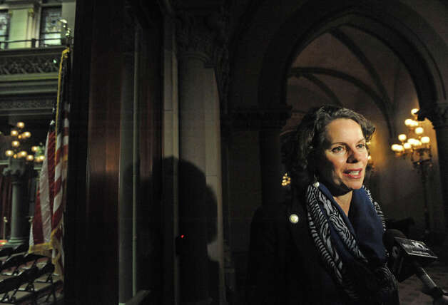 Assemblymember Patricia Fahy talks about the days events ouside the NYS Assembly Chamber on Tuesday Jan. 27, 2015 in Albany, N.Y. (Michael P. Farrell/Times Union) Photo: Michael P. Farrell, Albany Times Union