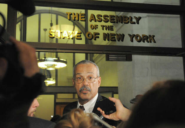 Assemblymember Jeffrion L. Aubry talks about the days events ouside the NYS Assembly Chamber on Tuesday Jan. 27, 2015 in Albany, N.Y. (Michael P. Farrell/Times Union) Photo: Michael P. Farrell, Albany Times Union