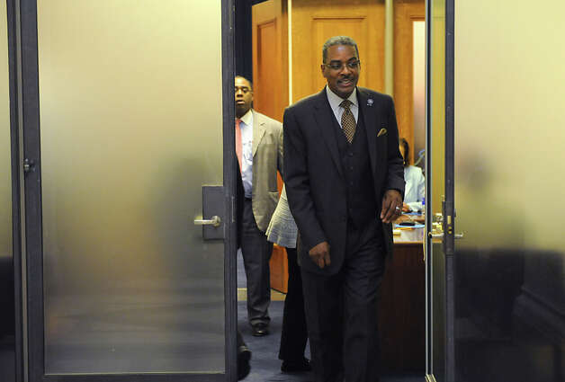 Sergeant-at-Arms Wayne Jackson walks out of the room where Assembly members are deciding on the fate of Speaker Sheldon Silver Monday, Jan. 26, 2015 in Albany, N.Y. (Lori Van Buren / Times Union) Photo: Lori Van Buren, Albany Times Union