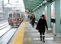 Commuters at the Fairfield Metro train station come in from New York City as blizzard conditions gear up on Monday, Jan. 26, 2015. Metro-North Railroad is getting high marks for its performance during this week's blizzard, and for a smooth restoration of full service Wednesday.