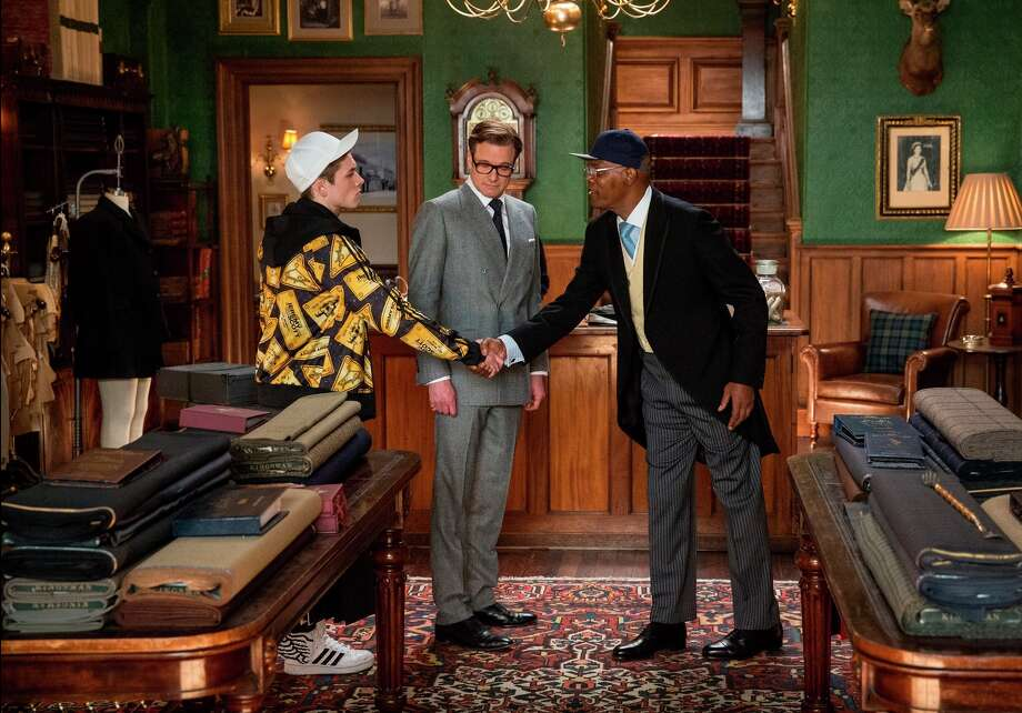 Heroes Eggsy (Taron Egerton) and Harry (Colin Firth) meet villain Valentine (Samuel L. Jackson). Photo: 20th Century Fox / 20th Century Fox / ONLINE_YES