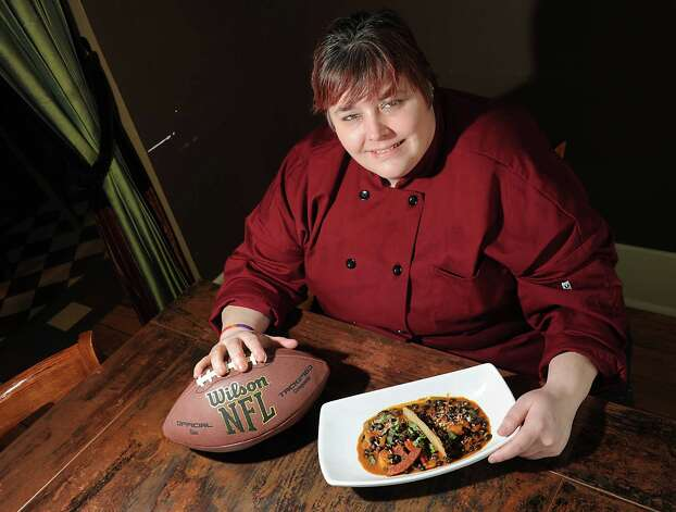 Chef Jennifer Hewes with her Super Bowl dish shrimp chili at The Point restaurant on Thursday, Jan. 22, 2015 in Albany, N.Y.  (Lori Van Buren / Times Union) Photo: Lori Van Buren / 00030283A