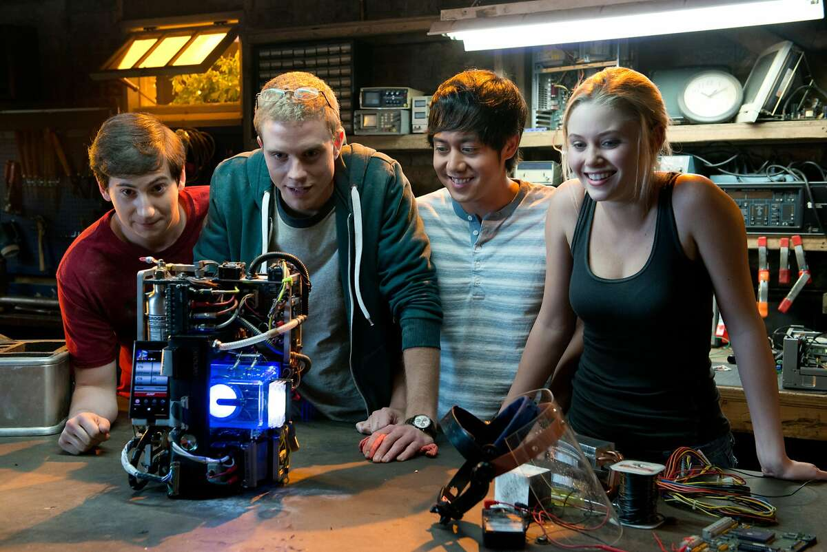 This photo released by Paramount Pictures shows, from left, Sam Lerner as Quinn Goldberg, Jonny Weston as David Raskin, Allen Evangelista as Adam Le, and Virginia Gardner as Christina Raskin , in a scene from the film,